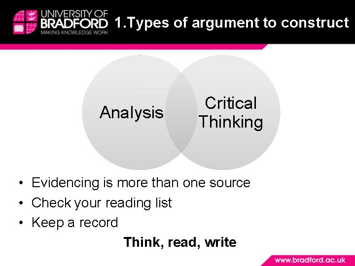 1. Types of argument to construct Analysis Critical Thinking • Evidencing is more than