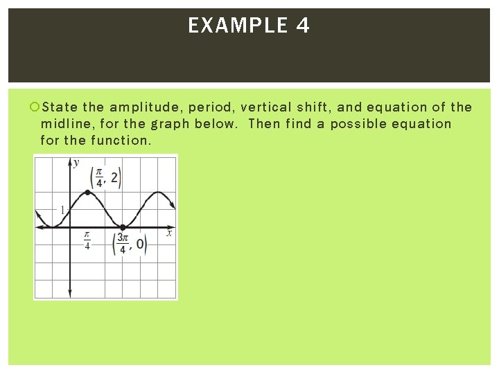 EXAMPLE 4 State the amplitude, period, vertical shift, and equation of the midline, for