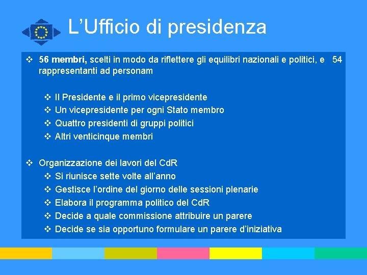 L'Ufficio di presidenza v 56 membri, scelti in modo da riflettere gli equilibri nazionali