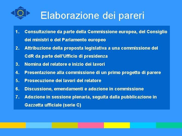 Elaborazione dei pareri 1. Consultazione da parte della Commissione europea, del Consiglio dei ministri