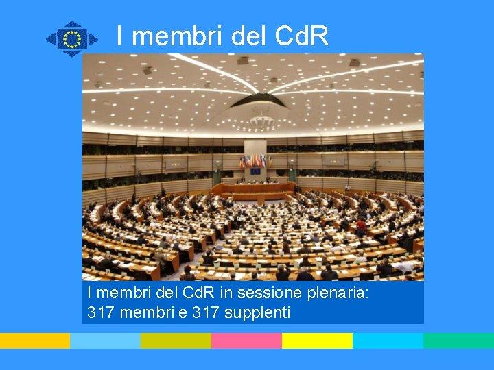 I membri del Cd. R in sessione plenaria: 317 membri e 317 supplenti