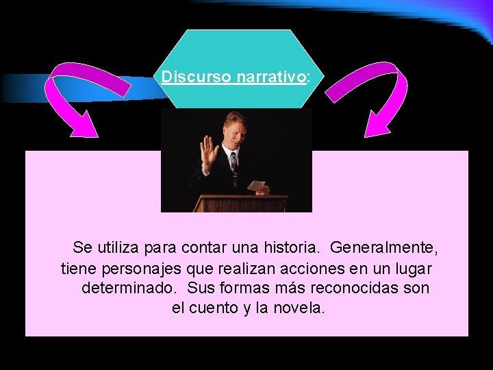 Discurso narrativo: Se utiliza para contar una historia. Generalmente, tiene personajes que realizan acciones