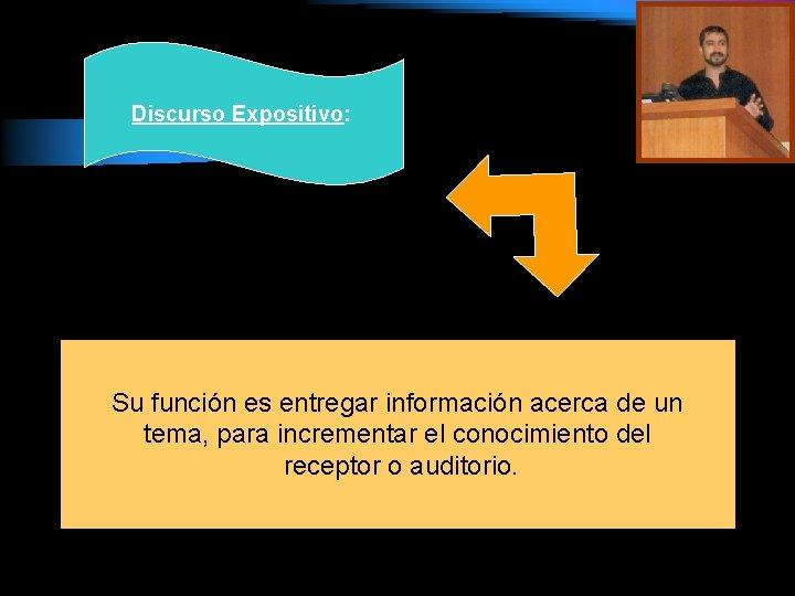 Discurso Expositivo: Su función es entregar información acerca de un tema, para incrementar el