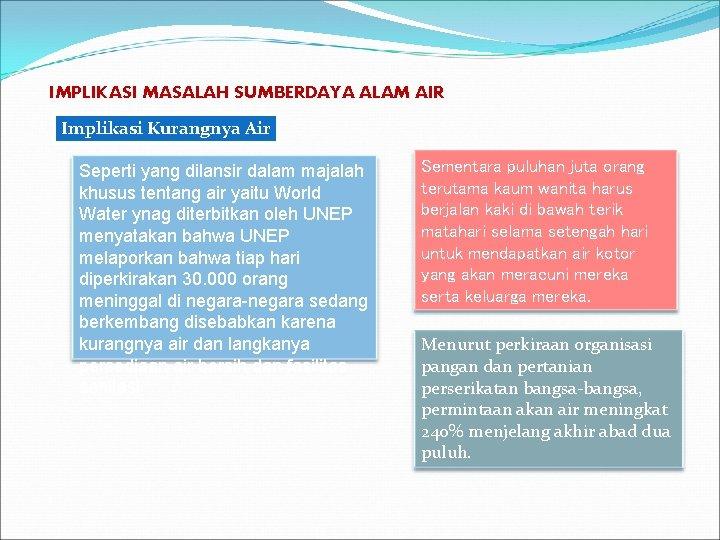IMPLIKASI MASALAH SUMBERDAYA ALAM AIR Implikasi Kurangnya Air Seperti yang dilansir dalam majalah khusus