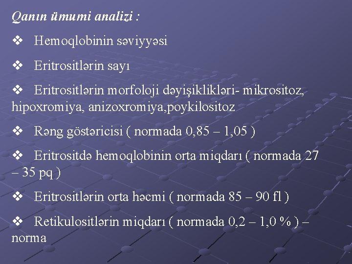 Liyev Adna Adht Hematologiya Kafedras Anemiya Kafedra Mdiri