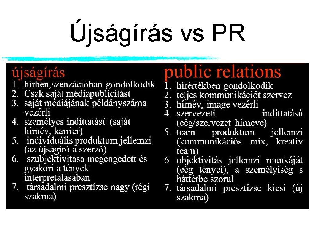 Újságírás vs PR
