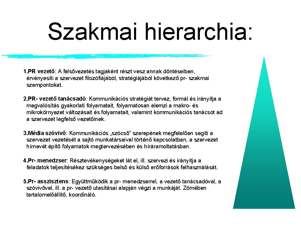 Szakmai hierarchia: 1. PR vezető: A felsővezetés tagjaként részt vesz annak döntéseiben, érvényesíti a