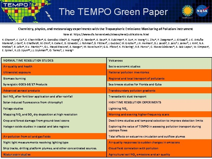 The TEMPO Green Paper Chemistry, physics, and meteorology experiments with the Tropospheric Emissions: Monitoring