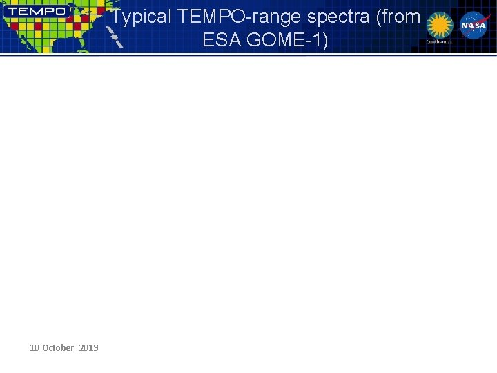 Typical TEMPO-range spectra (from ESA GOME-1) 10 October, 2019