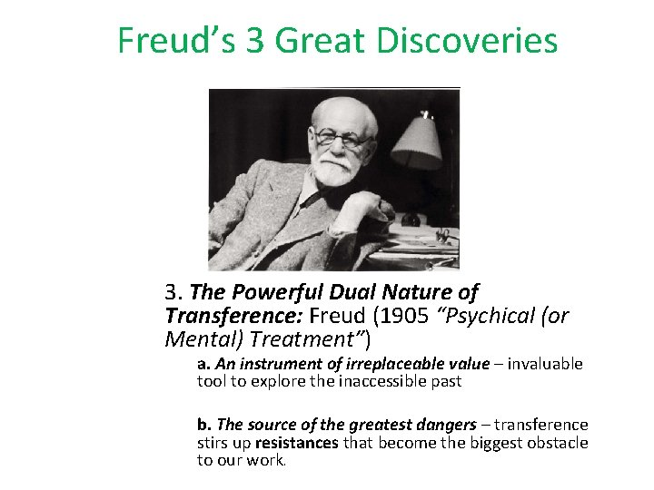 """Freud's 3 Great Discoveries 3. The Powerful Dual Nature of Transference: Freud (1905 """"Psychical"""