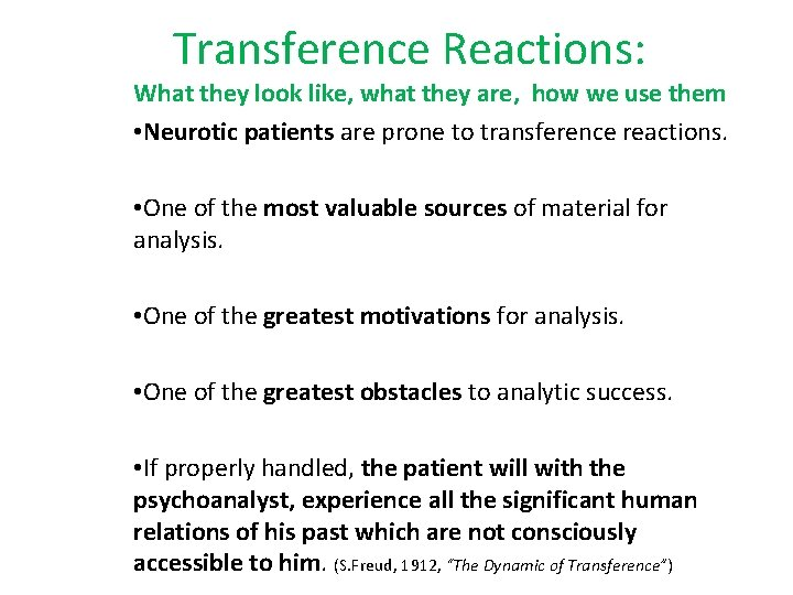 Transference Reactions: What they look like, what they are, how we use them •