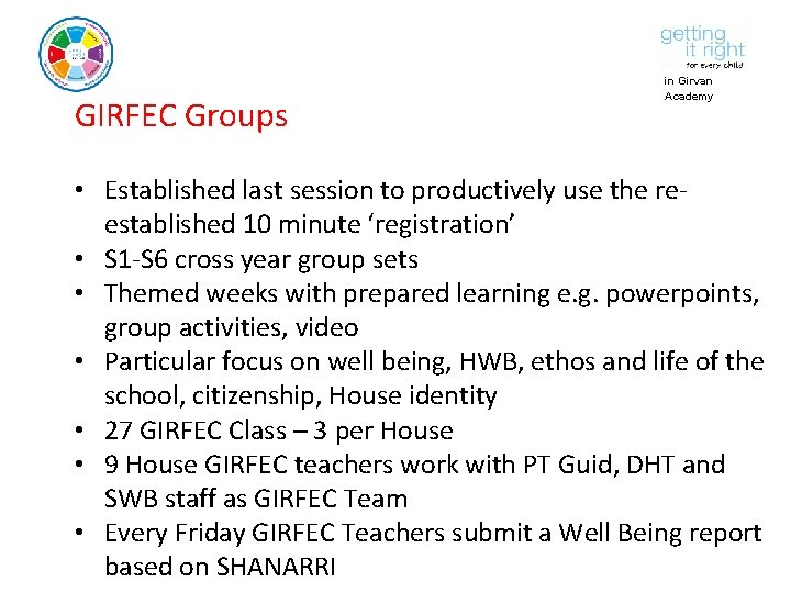 GIRFEC Groups in Girvan Academy • Established last session to productively use the reestablished