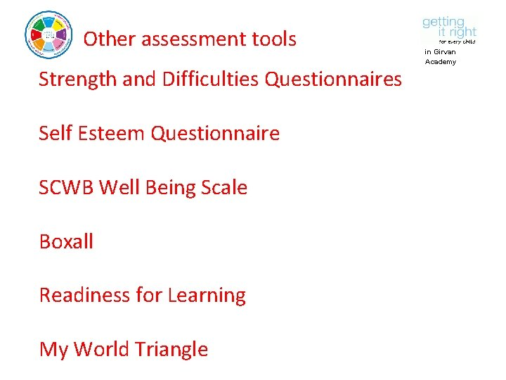 Other assessment tools Strength and Difficulties Questionnaires Self Esteem Questionnaire SCWB Well Being Scale