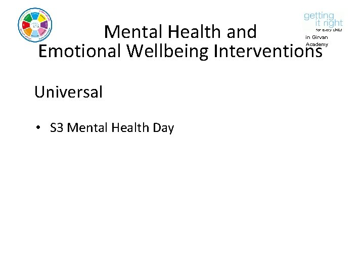 Mental Health and Emotional Wellbeing Interventions in Girvan Academy Universal • S 3 Mental