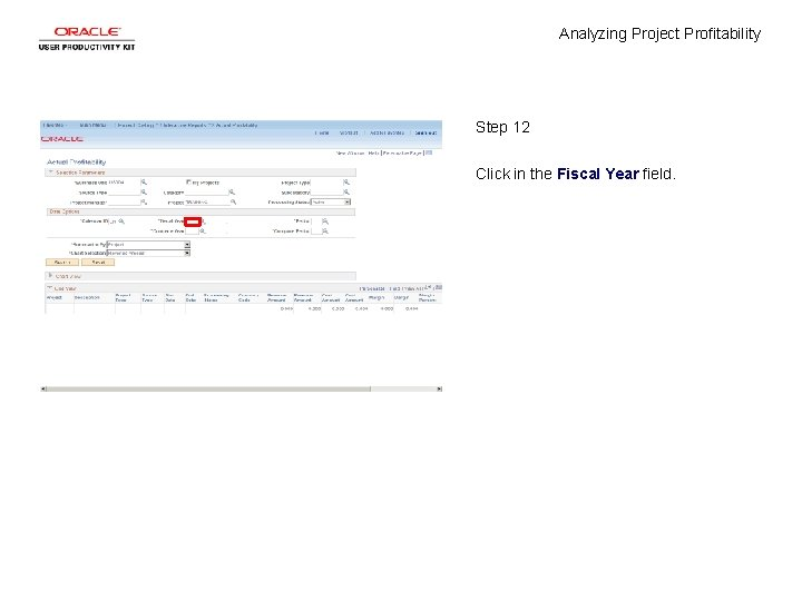 Analyzing Project Profitability Step 12 Click in the Fiscal Year field.
