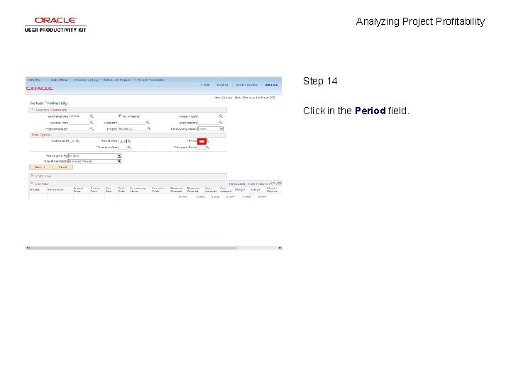 Analyzing Project Profitability Step 14 Click in the Period field.