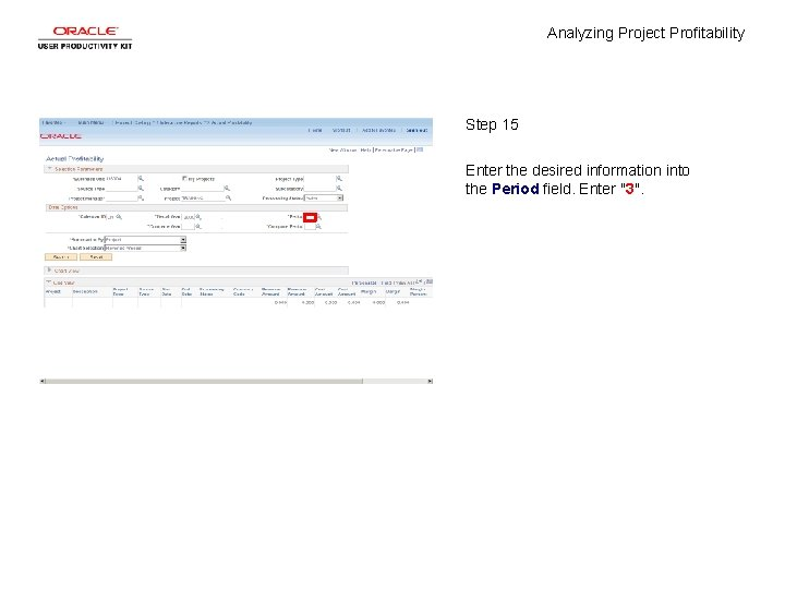 Analyzing Project Profitability Step 15 Enter the desired information into the Period field. Enter