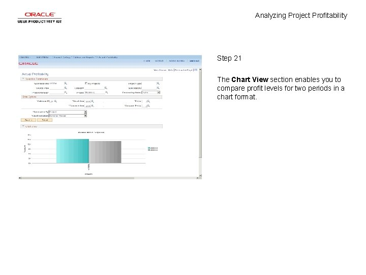 Analyzing Project Profitability Step 21 The Chart View section enables you to compare profit