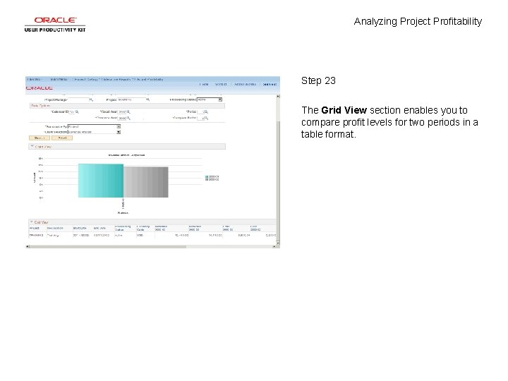 Analyzing Project Profitability Step 23 The Grid View section enables you to compare profit