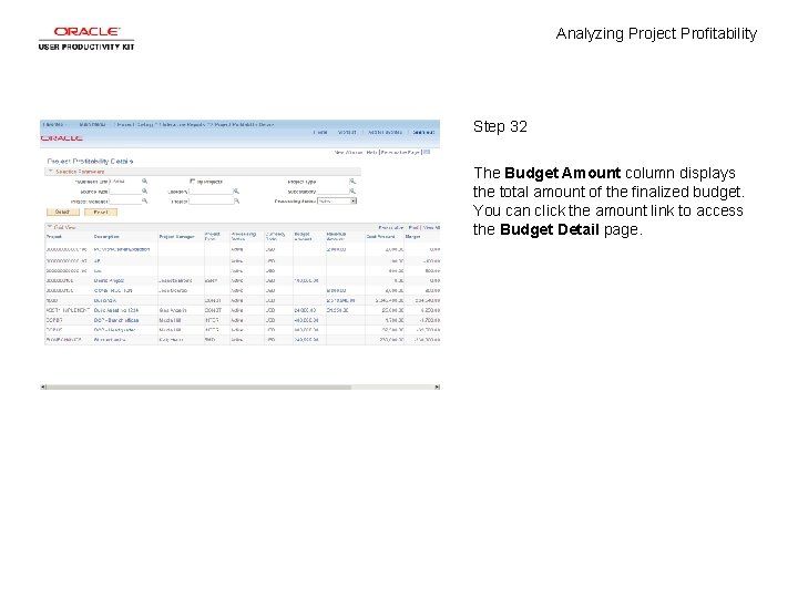 Analyzing Project Profitability Step 32 The Budget Amount column displays the total amount of