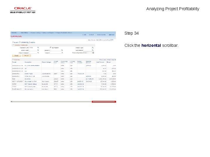 Analyzing Project Profitability Step 34 Click the horizontal scrollbar.
