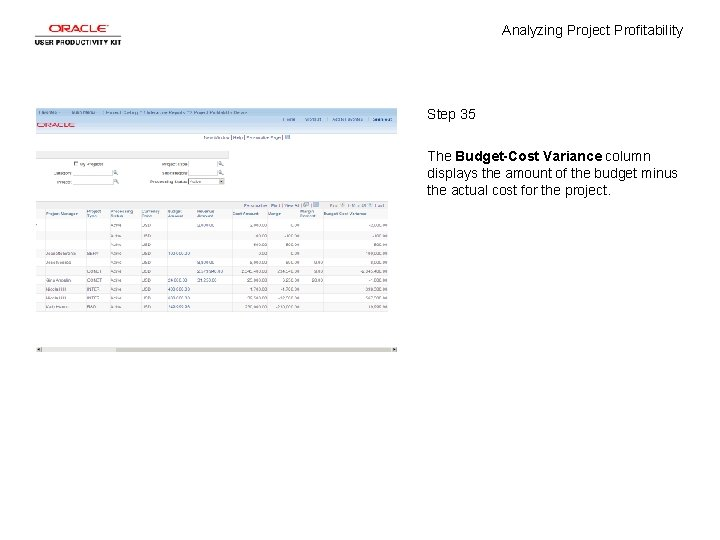 Analyzing Project Profitability Step 35 The Budget-Cost Variance column displays the amount of the