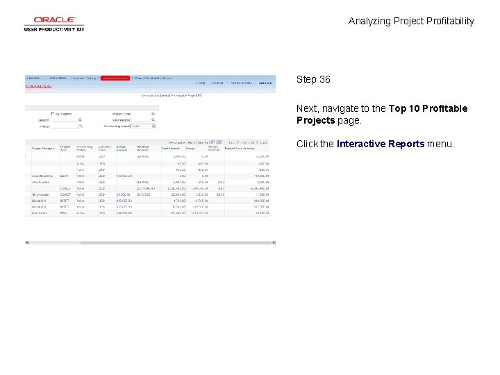 Analyzing Project Profitability Step 36 Next, navigate to the Top 10 Profitable Projects page.