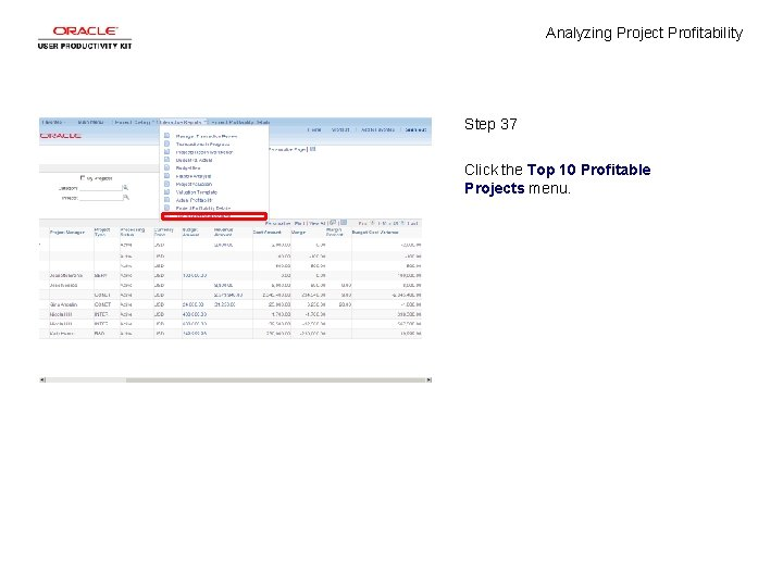 Analyzing Project Profitability Step 37 Click the Top 10 Profitable Projects menu.