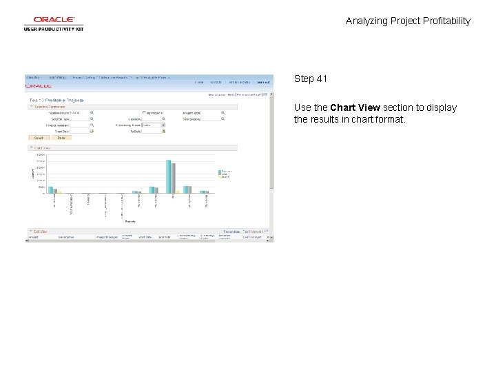 Analyzing Project Profitability Step 41 Use the Chart View section to display the results