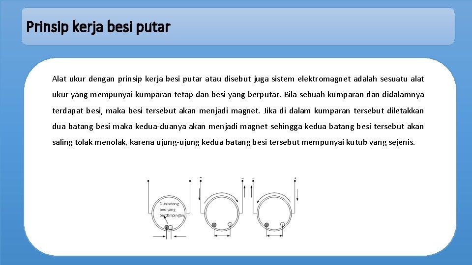 Prinsip kerja besi putar Alat ukur dengan prinsip kerja besi putar atau disebut juga