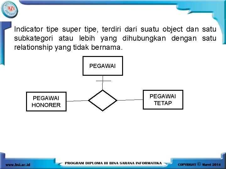 Indicator tipe super tipe, terdiri dari suatu object dan satu subkategori atau lebih yang