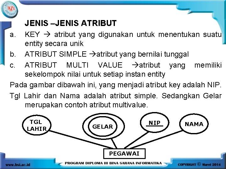 JENIS –JENIS ATRIBUT a. KEY atribut yang digunakan untuk menentukan suatu entity secara unik