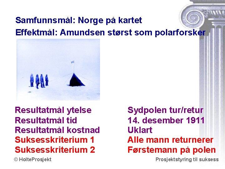 Samfunnsmål: Norge på kartet Effektmål: Amundsen størst som polarforsker Resultatmål ytelse Resultatmål tid Resultatmål