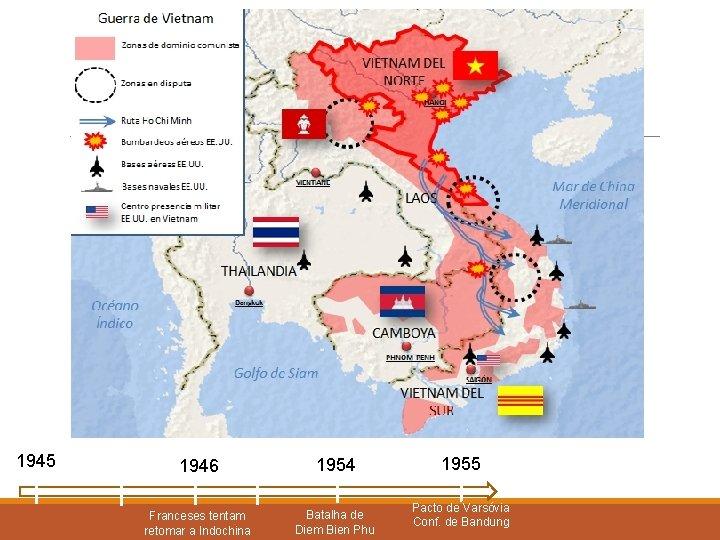 1945 1946 1954 Franceses tentam retomar a Indochina Batalha de Diem Bien Phu 1955