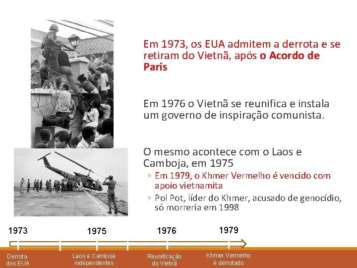Em 1973, os EUA admitem a derrota e se retiram do Vietnã, após o