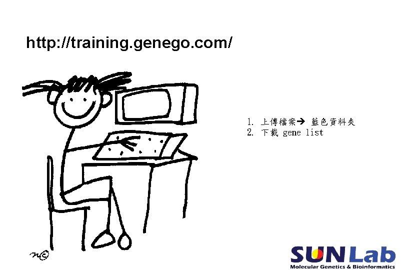http: //training. genego. com/ 1. 上傳檔案 藍色資料夾 2. 下載 gene list