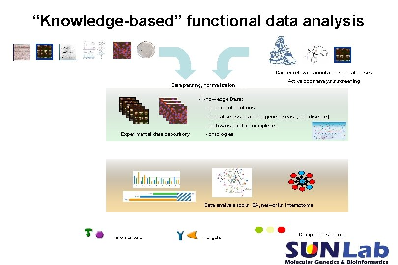 """""""Knowledge-based"""" functional data analysis Cancer relevant annotations, datatabases, Data parsing, normalization HTS, HCS Active"""