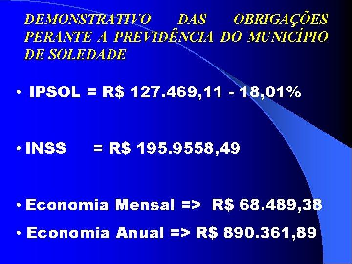 DEMONSTRATIVO DAS OBRIGAÇÕES PERANTE A PREVIDÊNCIA DO MUNICÍPIO DE SOLEDADE • IPSOL = R$