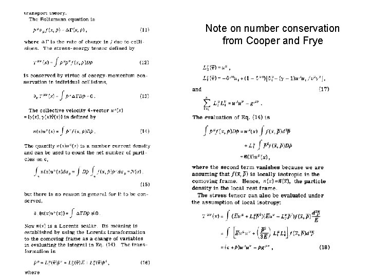 Note on number conservation from Cooper and Frye