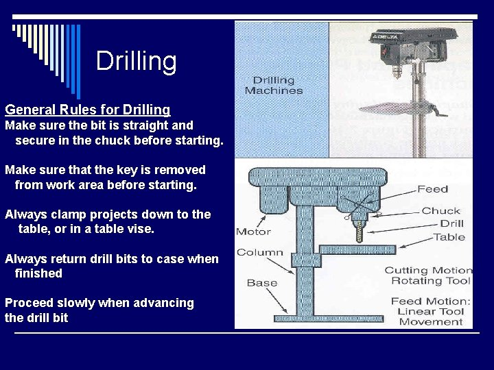 Drilling General Rules for Drilling Make sure the bit is straight and secure in