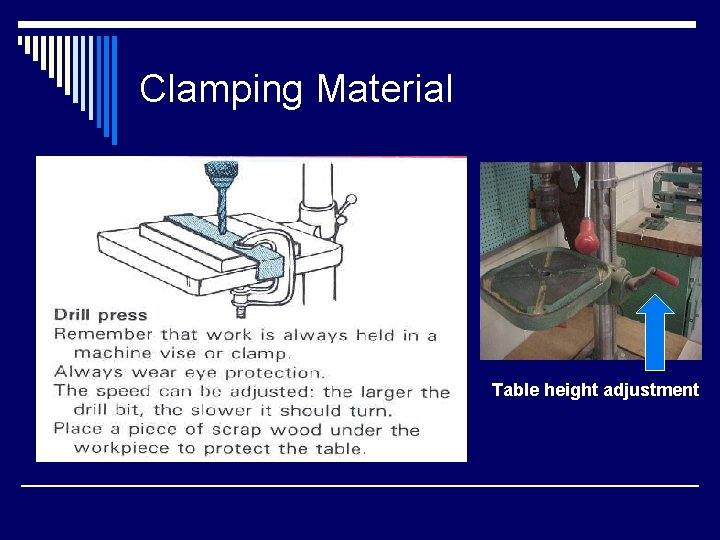 Clamping Material Table height adjustment