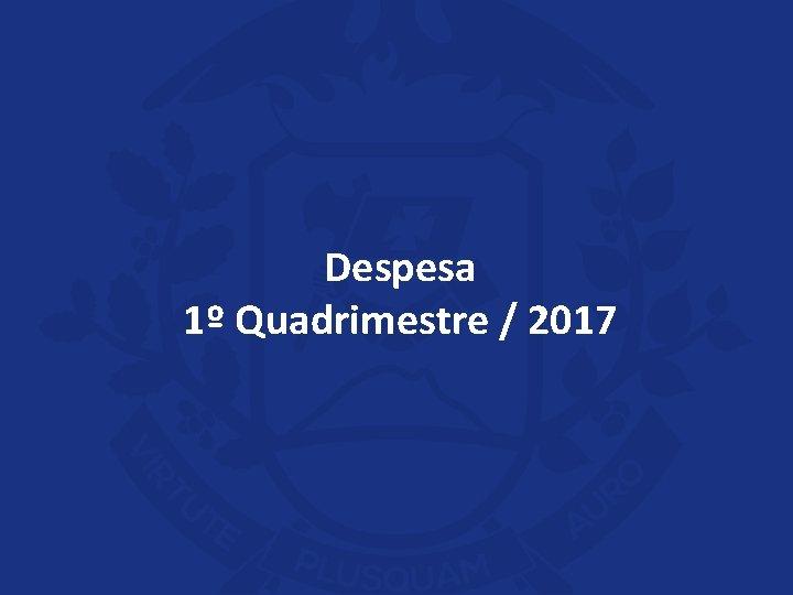 Despesa 1º Quadrimestre / 2017