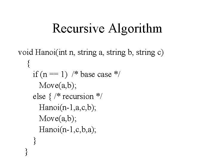 Recursive Algorithm void Hanoi(int n, string a, string b, string c) { if (n