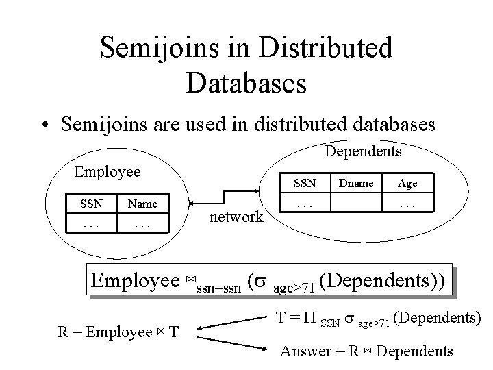 Semijoins in Distributed Databases • Semijoins are used in distributed databases Dependents Employee SSN
