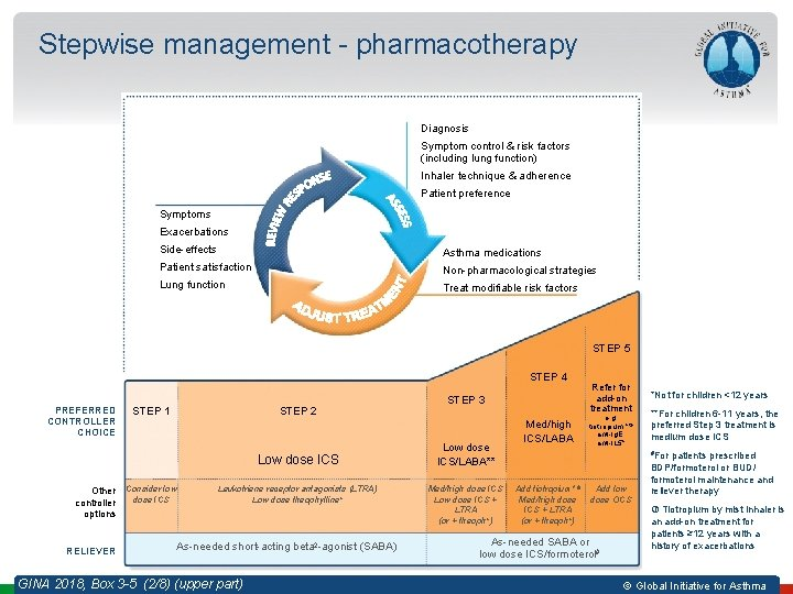 Stepwise management - pharmacotherapy Diagnosis Symptom control & risk factors (including lung function) Inhaler