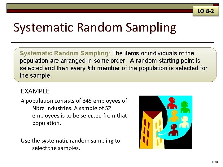 LO 8 -2 Systematic Random Sampling: The items or individuals of the population are