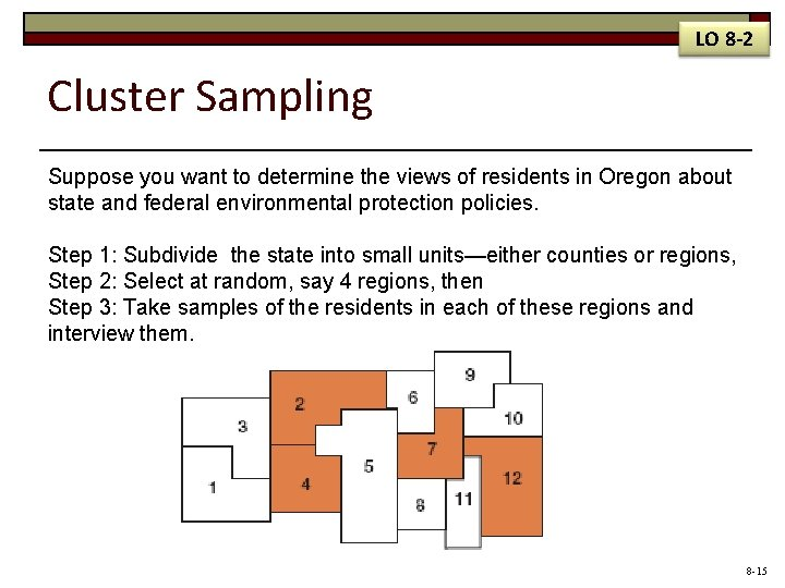 LO 8 -2 Cluster Sampling Suppose you want to determine the views of residents