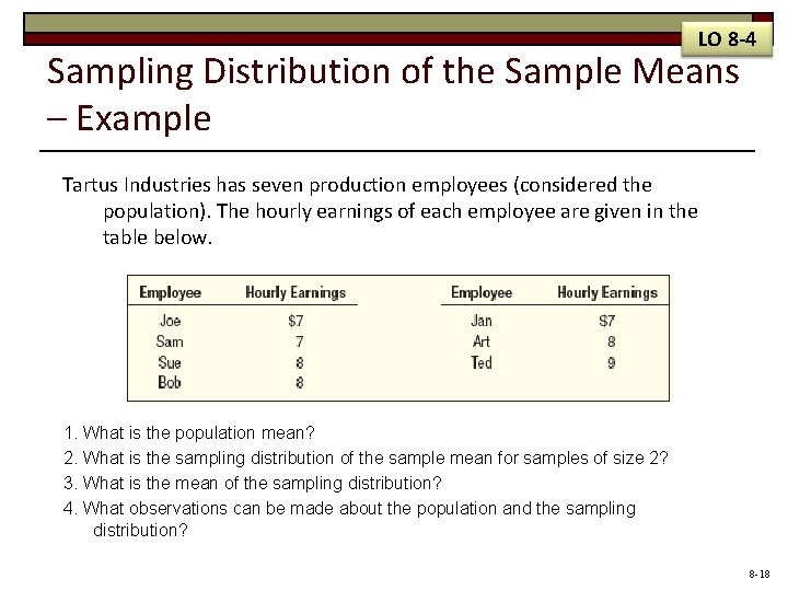 LO 8 -4 Sampling Distribution of the Sample Means – Example Tartus Industries has