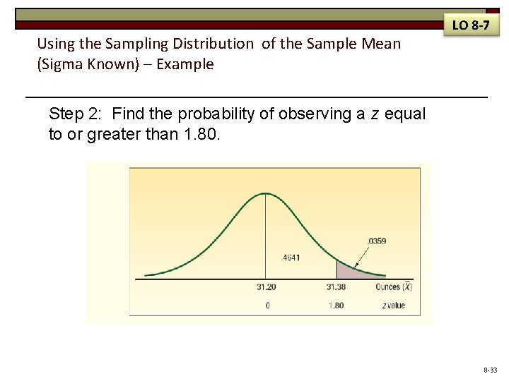 Using the Sampling Distribution of the Sample Mean (Sigma Known) – Example LO 8