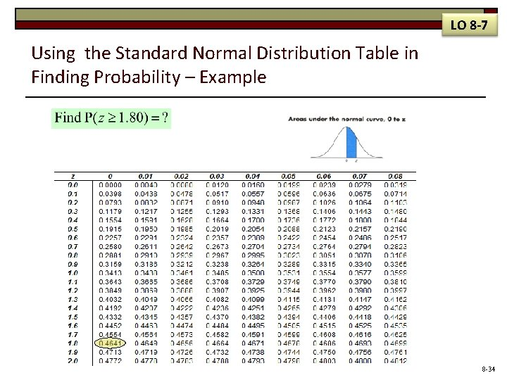 LO 8 -7 Using the Standard Normal Distribution Table in Finding Probability – Example